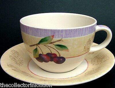 TWO Marks & Spencer Wild Fruits Pattern Large Size Tea Cups & Saucers in VGC