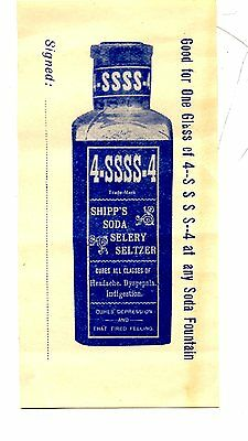 Shipp's Soda Selery Seltzer-Coupon for Free Glass-Soda Fountain-Cures Ailments