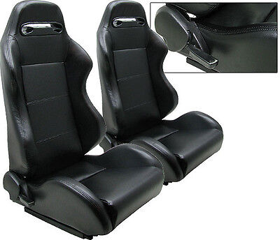 2 Black Pvc Leather Reclinable Racing Seats For All Acura + Sliders