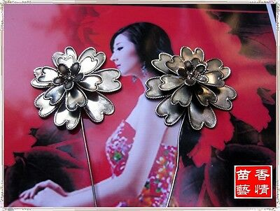 Vintage Style Handmade Miao Silver Flowers Hairpin Headdress 1 Pair 2014--207