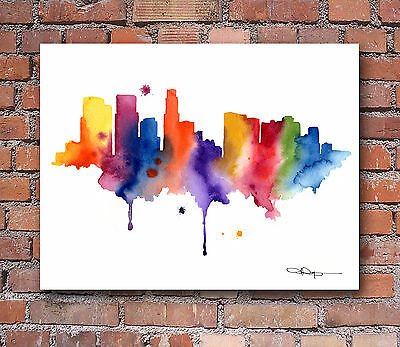 Los Angeles Skyline Abstract Watercolor Painting Art Print by Artist DJ Rogers