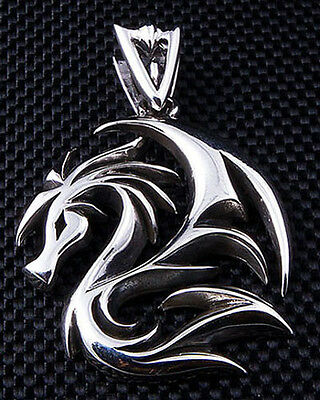 Dragon Wolf Tattoo 925 Sterling Silver Mens Pendant For Chain Necklace Biker New
