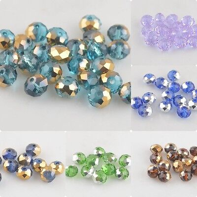 Pretty 50Pcs 8x6mm Rondelle Faceted Glass Loose Beads Spacer Finding 135Color