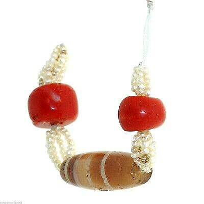 (0284) Buddhist Chung gZi Stone  Bead, Coral and real Basra pearlsTibet
