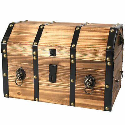 New Vintiquewise Large Wooden Pirate Lockable Trunk with Lion Rings, QI003038L