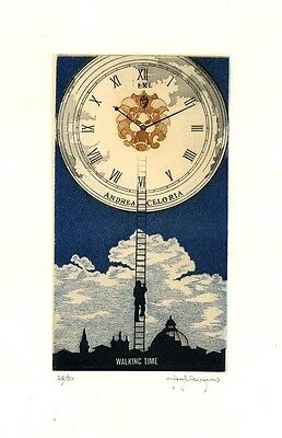 """Walking Time""  Clock, Ex libris Etching by Paolo Rovegno, Italy"