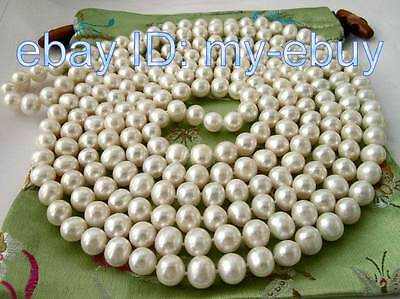 """Elegant 10mm White/Deep Blue Freshwater Pearl Necklace 80"""""""