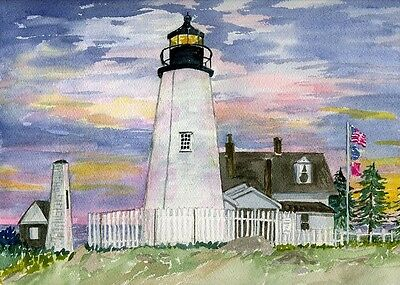 Pemaquid Point Lighthouse Sunset. Bristol, Maine. Diana Hertz Watercolor Prints