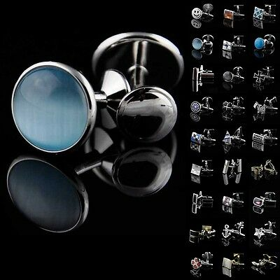 Lot Vintage Mens Stainless Steel Wedding Party Business Silver Agate Cufflinks
