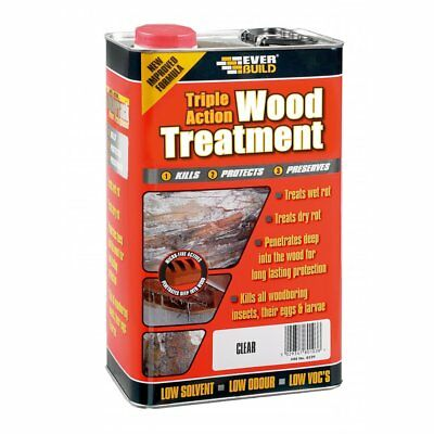 EVERBUILD TRIPLE ACTION 5L Wood Treatment Wet/Dry Rot Worm Insect