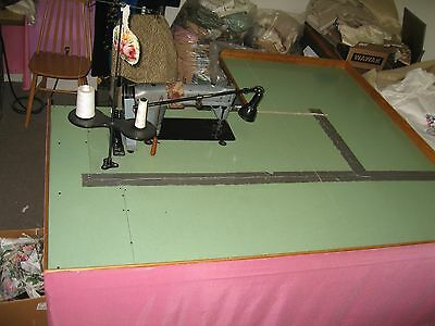 """Industrial Sewing Machine Table With Steel Legs 72"""" x 64""""  With Motor Only $115."""