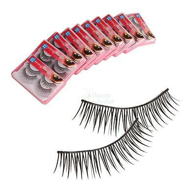 New 20 Pairs 12mm Natural Soft Synthetic Fiber False Eyelashes Black Makeup B-41