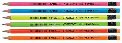 LYRA NEON PENCILS with ERASER BOXED BLACK LEAD HB Grade [Pack of 12 Pencils]
