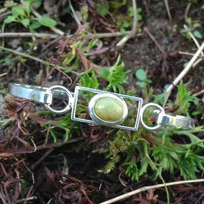 Connemara marble silver plated bangle bracelet cabochon. Irish jewelry.Ireland.