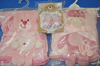 Supersoft Pink Baby Blanket / Wrap Bunny or Hippo & Sock Bootees Birth/Baby Gift