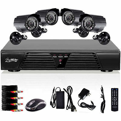 4CH CHANNEL Wired IR Night Vision Outdoor Waterproof 4 Camera DVR Network System