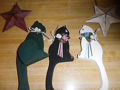 Three Wooden Cat Decorations and Two Stars Really Cute