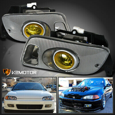 For 1992-1995 Honda Civic 2/3Dr Yellow Fog Lights+Switch wiring