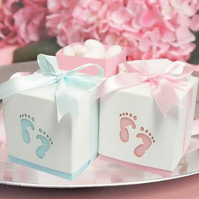 20x Baby Footprint Laser Cut Favour Boxes Baby Shower Christening Bomboniere