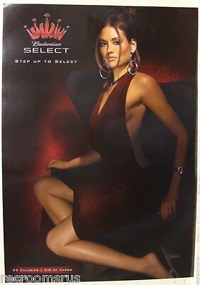 BUDWEISER SELECT poster hot sexy lady girl women sitting in chair bud beer pinup