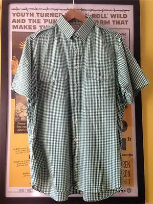 Vintage 1960s Style Men's SAM'S TAILORS Green Gingham Check Cotton Shirt X Large