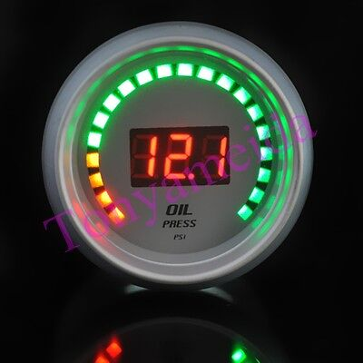 "White Auto Car 2"" 52mm Oil Press Red Digital Color 20 LED Pressure Gauge New"