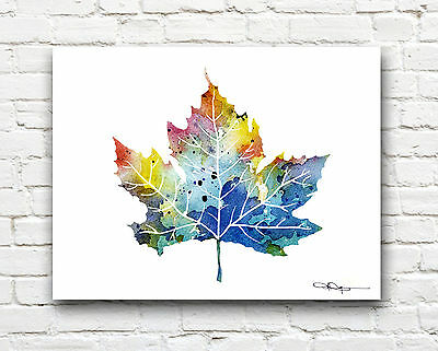 Maple Leaf Abstract Watercolor Painting Art Print by Artist DJ Rogers