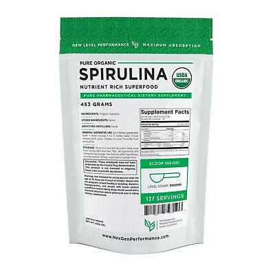 Spirulina Powder- Organic Protein Powder - USDA -nonGMO - Best Quality-New Look!