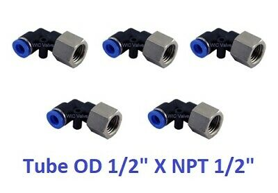"""5pcs Pneumatic Female Elbow Connector Tube OD 1/2"""" X NPT 1/2"""" Push In Fitting"""