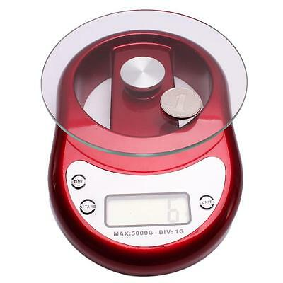 New LCD Digital Kitchen Scale Diet Food Weigh Balance 5000g/5Kg/1g 11lbs Red