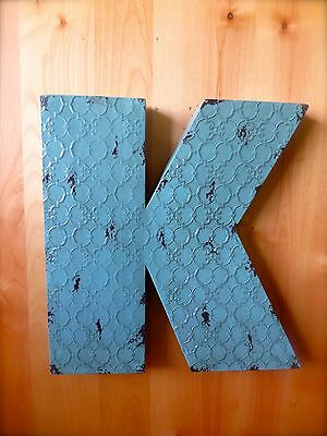 "INDUSTRIAL BLUE METAL WALL LETTER ""K"" 20"" TALL rustic vintage decor novelty sign"