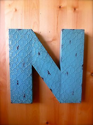 "INDUSTRIAL BLUE METAL WALL LETTER ""N"" 20"" TALL rustic vintage decor antique sign"