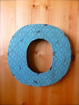 """INDUSTRIAL BLUE METAL WALL LETTER """"O"""" 20"""" TALL rustic vintage decor antique sign"""