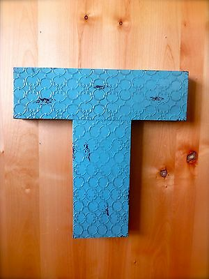 "INDUSTRIAL BLUE METAL WALL LETTER ""T"" 20"" TALL rustic vintage decor antique sign"