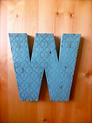 """INDUSTRIAL BLUE METAL WALL LETTER """"W"""" 20"""" TALL rustic vintage decor antique sign"""