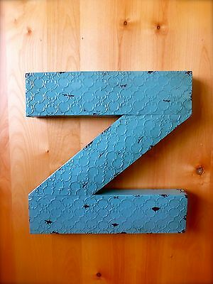"INDUSTRIAL BLUE METAL WALL LETTER ""Z"" 20"" TALL rustic vintage decor antique sign"