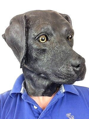 Black Labrador Dog Mask Latex Lab Pooch Retriever Fancy Dress Stag Costume