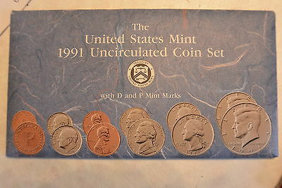 1991 Brilliant Uncirculated US Mint Set P & D in OGP  Excellent Condition