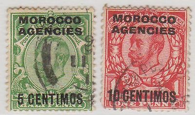 (Q3-13) 1914 Morocco agencies 5c &10c O/P on KGV stamps