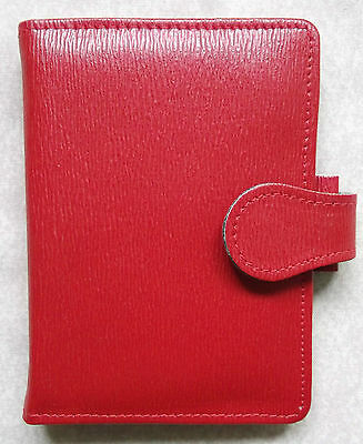 NEW BRIGHT RED GREENWICH LEATHER MINI SIZE FILE ORGANISER WALLET 11mm DIAMETER