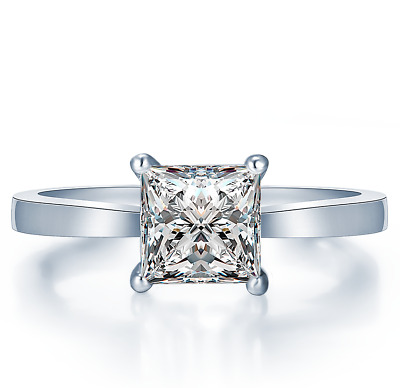 925 Sterling Silver Princess Cut Solitaire Luxury Engagement Wedding Ring
