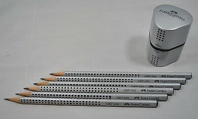 NEW Faber Castell Pencil with Sharpener Set of 6 pencils 2 1/2 HB