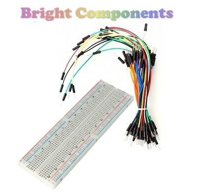 Solderless Prototype Breadboard (830 Points) + 65 Jumper Wires - Electronics