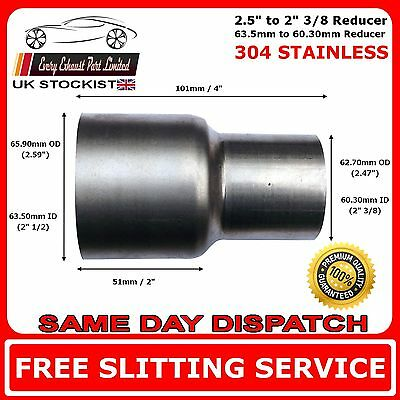 "2.5"" to 2.375"" Stainless Steel Flared Exhaust Reducer Connector Pipe Tube"