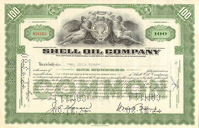 Shell Oil Company   100 share green stock certificate scripophily