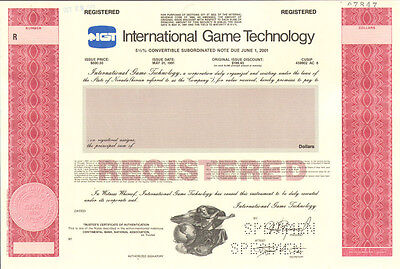 IGT International GameTechnology   casino & lottery games stock certificate