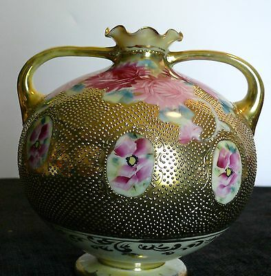 Nippon Hand Painted Vase Gold Floral Textured