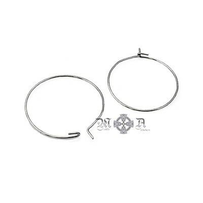 30 Silver Tone Stainless Steel Wine Glass Charm Hoops 25mm Diameter