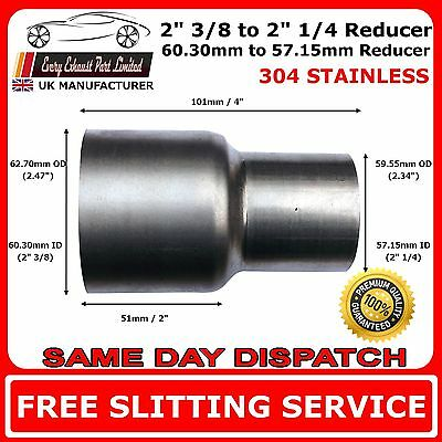 "2.375"" to 2.25"" Stainless Steel Flared Exhaust Reducer Connector Pipe Tube"