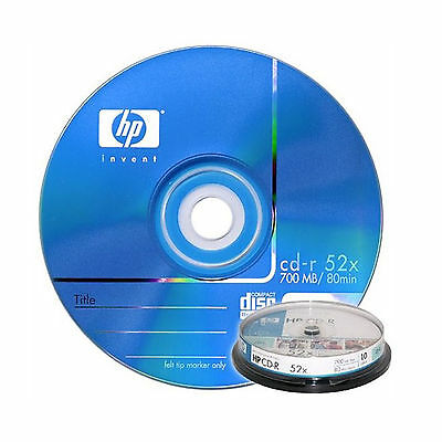 10Pcs HP Blank CD-R CDR Recordable Media Disc PHOTO 700MB 80Min 52x with Case